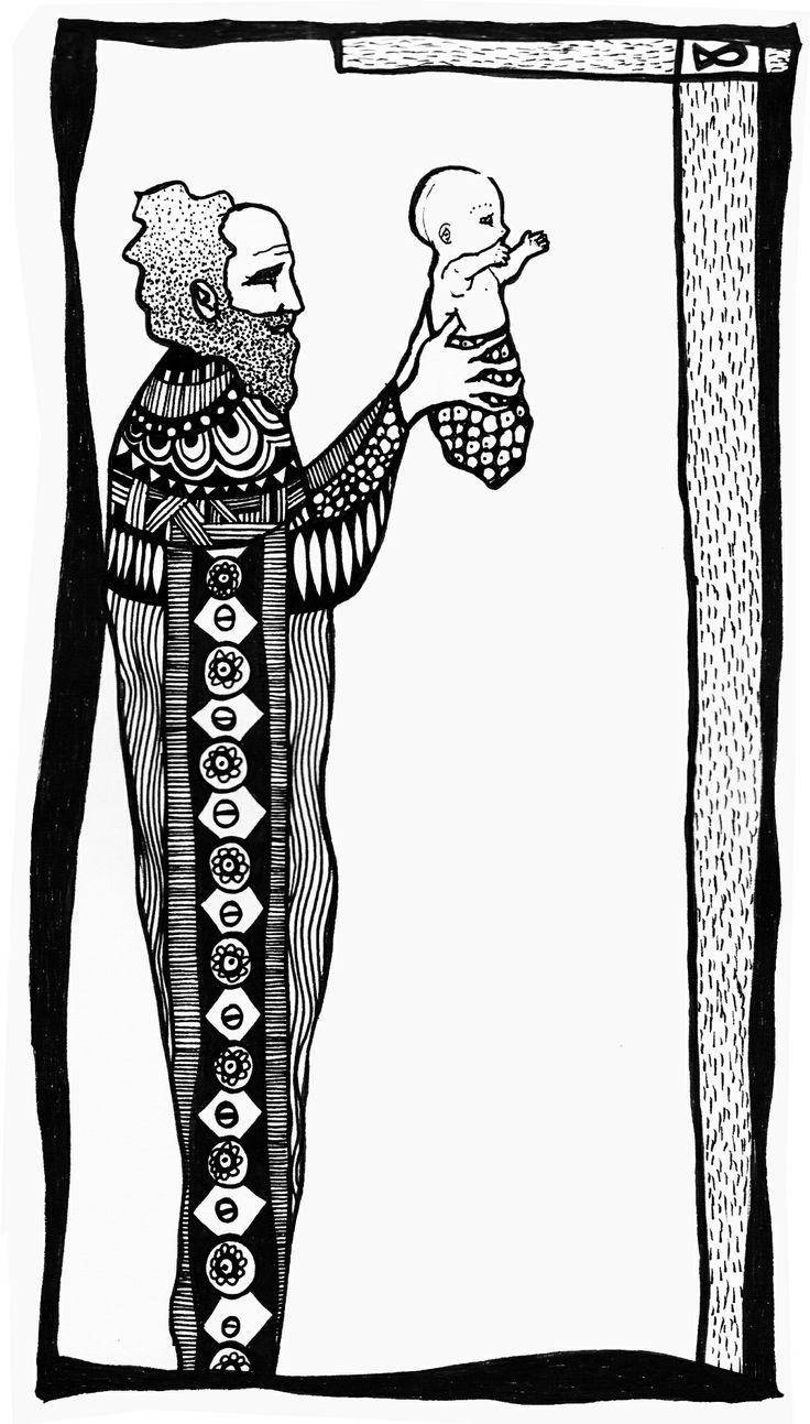 Simeón y el Niño Tinta sobre papel