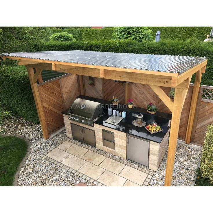 Self Built Covered Outdoor Stone Kitchen With Napoleon Built In