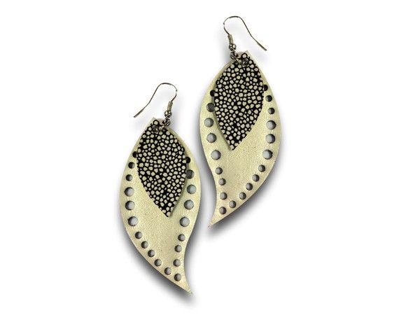 Handmade leather earrings LEAVES (gold)