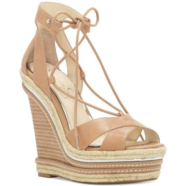 Jessica Simpson Adyson Lace-Up Wedge Sandals ($90) ❤ liked on Polyvore featuring shoes, sandals, wedges, buff leather, strappy sandals, leather sandals, strappy lace up sandals, leather wedge sandals and espadrille sandals