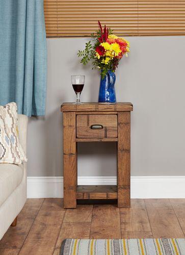 Rough Sawn Oak Lamp Table #wood #oak #furniture #sideboard #table #storage #wine #flowers #home #interior #decor #livingroom #lounge #bedroom
