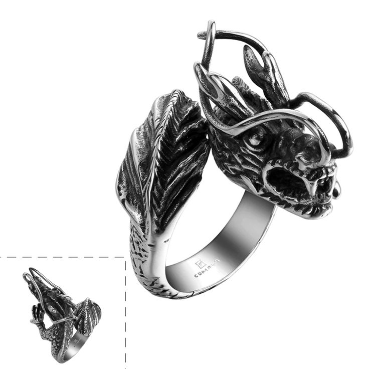 Men Boy's Gothic Punk Rock Style Black Chinese Dragon Design Rings Bijoux Man Titanium Steel Party Motorcycle Jewelry Bague Male