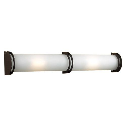 "PLC Lighting Chevron Halogen Long Two-Light ADA Bath Fixture by PLC Lighting. $316.80. Two - 100 watt J118mm bulbs. 36""""W x 6""""H x 3.25""""Ext. Finish: Oil Rubbed Bronze. - Acid Frost Glass - Can be hung horizontally (as shown) or vertically."
