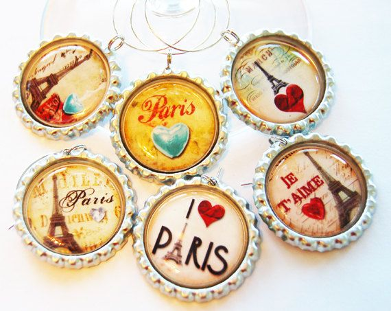 Paris wine charms Wine Glass Charms barware by KellysMagnets, $18.00
