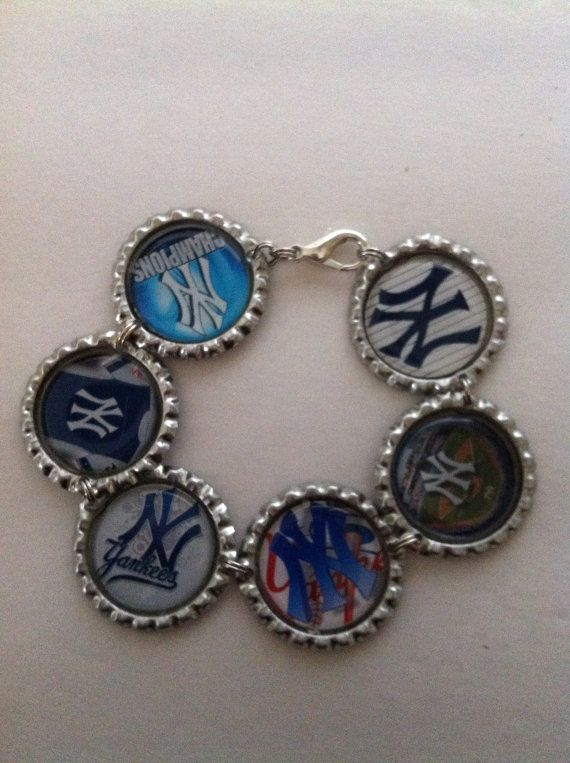 New York Yankees inspired bracelet Silver Tone by HochePotBoutique #Yankees #Custombracelet