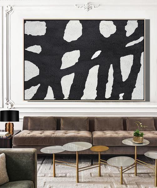 Cz Art Design Hand Painted Horizontal Minimal Mn1c Oversized Black And White Minimalist Painting On Canvas For Neutral Interiorinimalist