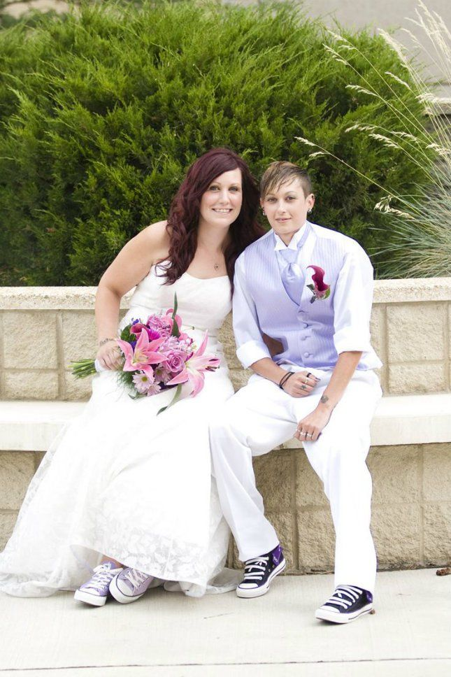 215 best radiant orchid wedding inspirations images on for Lesbian wedding dresses and suits