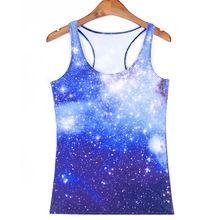 Hot selling sport tank tops vrouwen sexy mouwloze t-shirt kleding elastische yoga running vesten hemdje blue sky digital print(China)