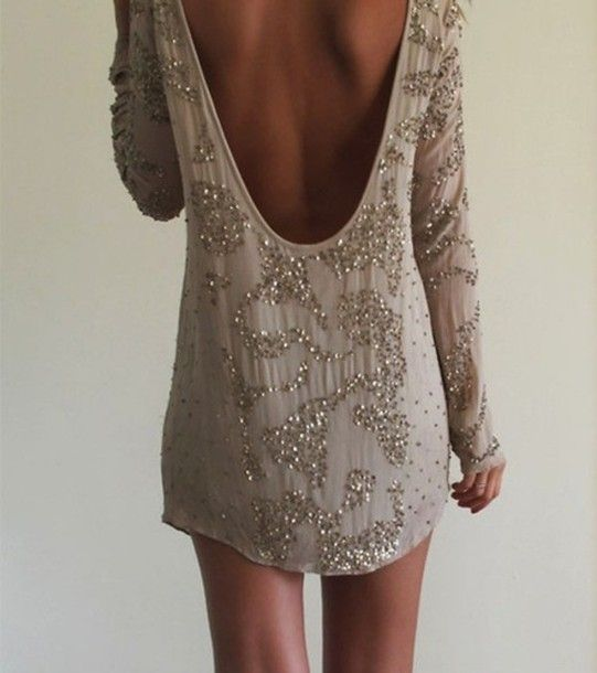 beaded dress taupe low cut back dress lowback longsleeve long sleeve sparkles short prom backless dress sequin dress prom dress allsaints gl... by tommie