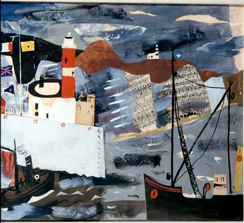 """""""Harbour Scene, Newhaven"""" by John Piper"""