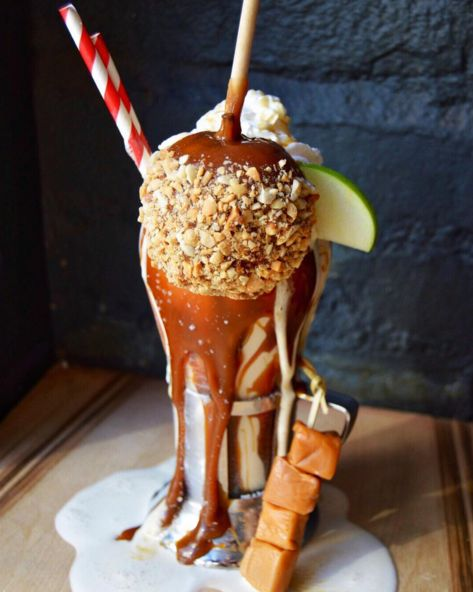 This glass of caramel apple perfection: | New York City Is Going Crazy Over These Insane Next-Level Milkshakes