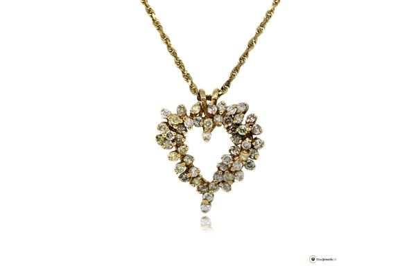 14k Yellow Gold 1ctw Diamond Heart Pendant with Chain, necklace, Halskette, Anhänger, Herz