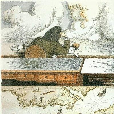 Stevenson scrive l'Isola del Tesoro by Tullio Pericoli