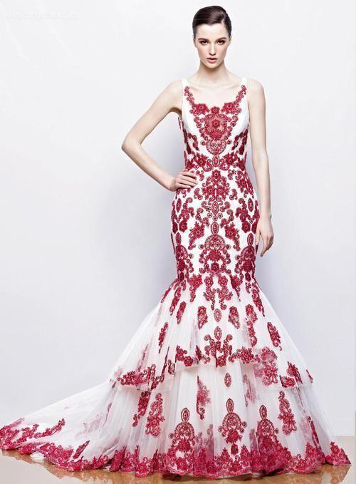 なかなかない上品な赤い刺繍のドレス♡マーメイドのカラードレスは花嫁衣装にぴったり♡マーメイドドレスまとめ一覧♡