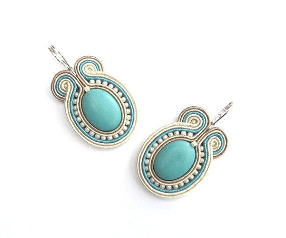 Turquoise Soutache Earrings Big Statement Pastel by mintESSENCE, $41.00 -Poland How does she do this?!