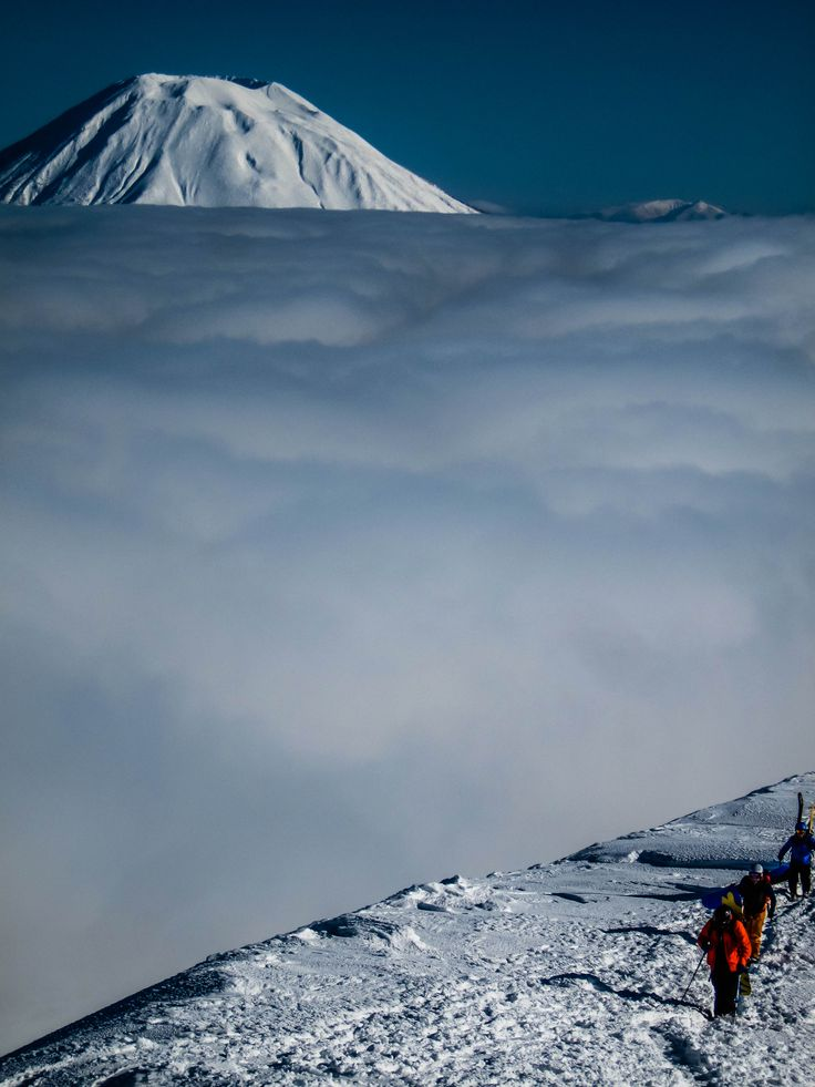 Snowboarding above the clouds in Hokkaido, Japan. #snowboard #splitboard #ski #backcountry