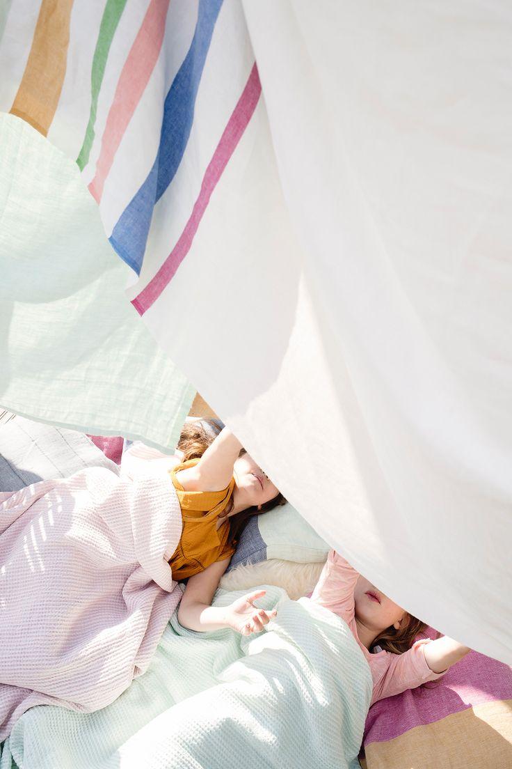 MERU tablecloth / blanket, 100% linen, design by Mifuko, MAIJA linen-tencel blanket woven by Lapuan Kankurit in Finland