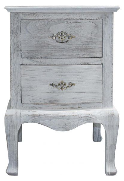 Block & Chisel white french 2 drawer bedside table