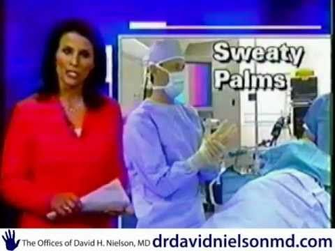 "Fox NEWS - Dr David Nielson San Antonio Texas Hyperhidrosis Treatment Cure? http://drdavidnielsonmd.com Fox NEWS Dr. David Nielson Hyperhidrosis Treatment - Tonight we follow one of our own Fox co-workers. Dr. David Nielson's let Fox NEWS film behind the scenes of this revolutionary procedure. Did you know that San Antonio, Texas recently ranked as one of the ""sweatiest cities in America"", but did you also know there are thousands of people who sweat all the time?"