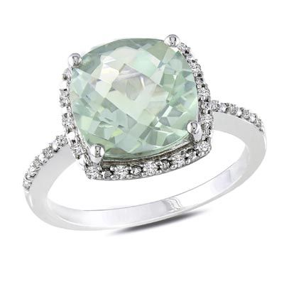 Cushion-Cut Green Quartz andDiamond Ring