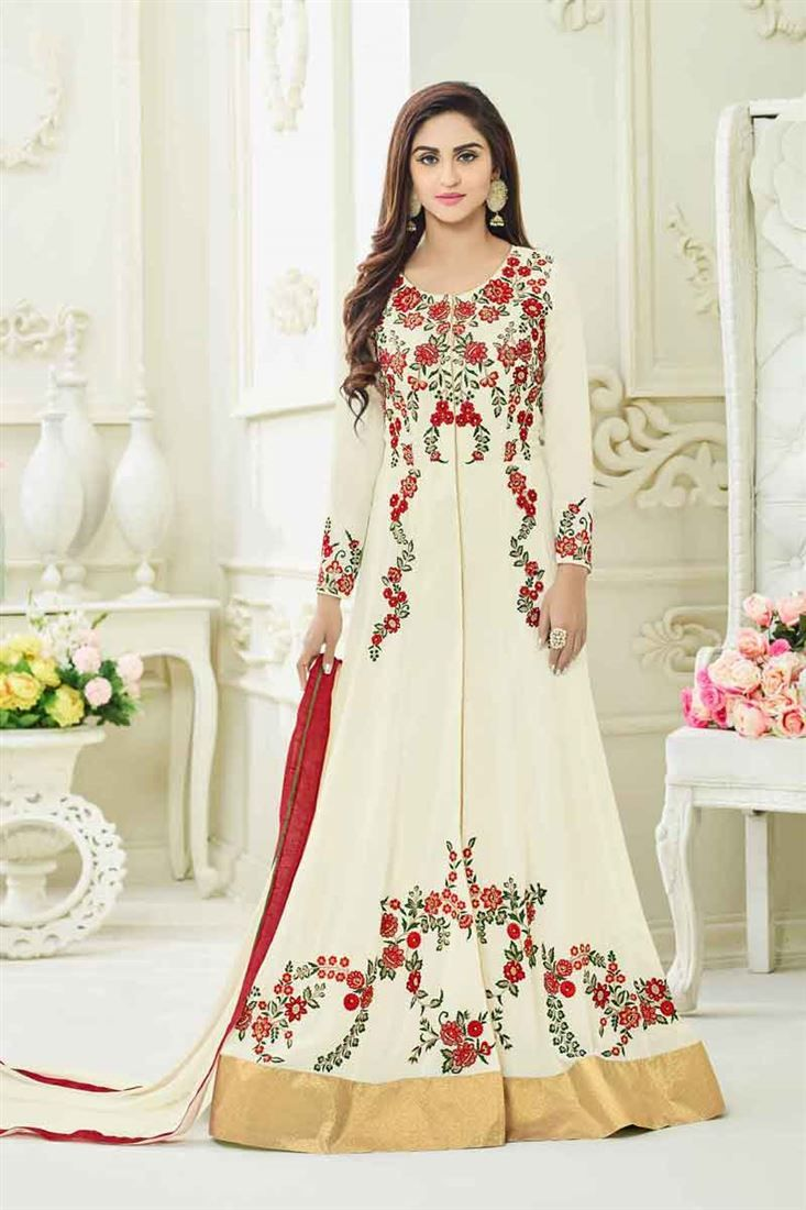 Online Shopping of Krystle Dsouza Cream Color Georgette Long Floor Length Anarkali Salwar Suit from SareesBazaar, leading online ethnic clothing store offering latest collection of sarees, salwar suits, lehengas & kurtis
