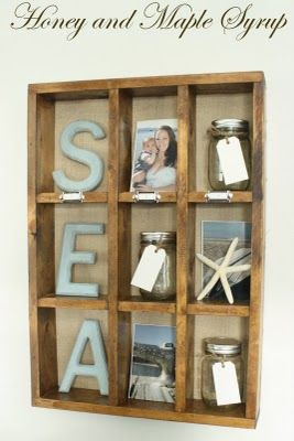PB cubby knock off! Love the details, SEA letters, jars for beach sand, numbering cubbies, and