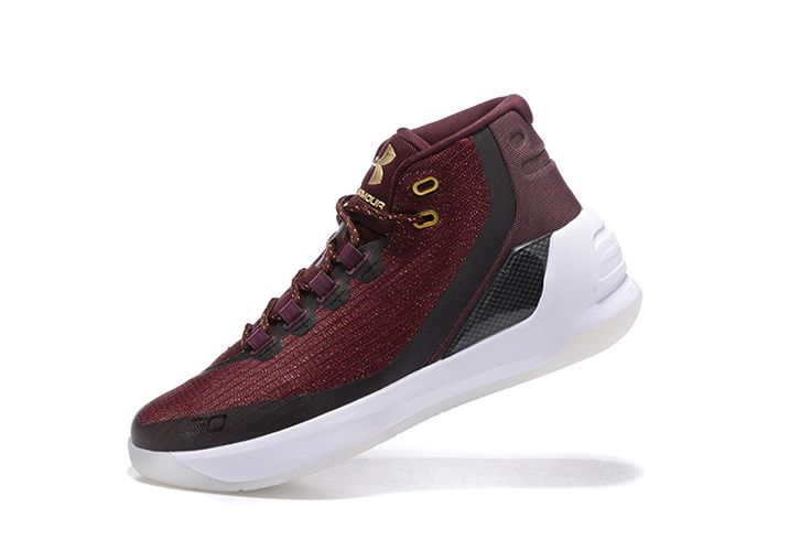 Under Armour Curry 3 III Burgundy Cavs White Basketball Shoes