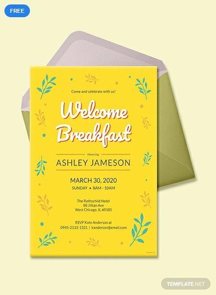 Free Welcome Breakfast Invitation Printable Party Invitation