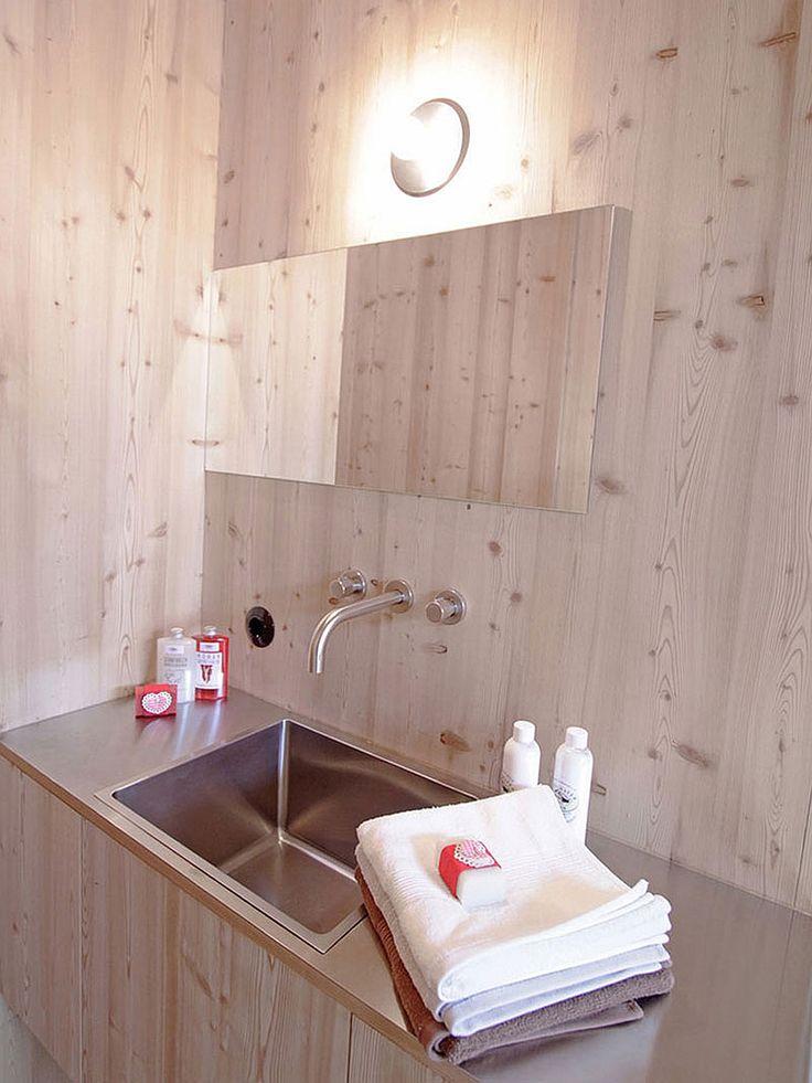 Exclusive Wooden Cabin in Unique Design: Impressive Minimalist Bathroom Interior Design In Combination Of Wood And Metal Materials For Vanit...