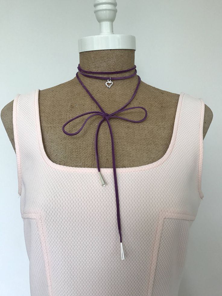 Purple and Silver Long Suede Heart Charm Wrap / Tie Up Choker with Silver End Details by EdieLucyDesigns on Etsy