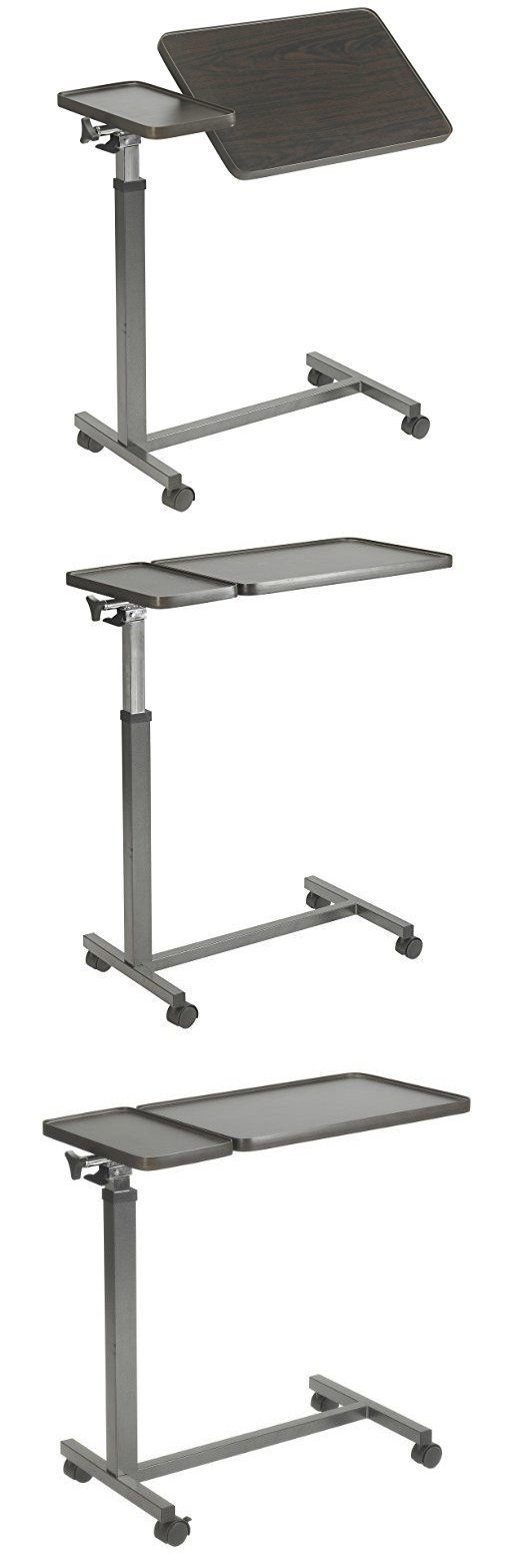 Bed and Chair Tables: Hospital Bed Table Overbed Over Tray Rolling Desk Food Medical Adjustable Tilt BUY IT NOW ONLY: $122.99