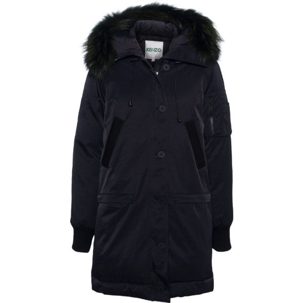 KENZO Racoon Hood Down Parka Black // Down jacket with fur trim (7 935 SEK) ❤ liked on Polyvore featuring outerwear, jackets, hooded parka jacket, hooded down jacket, fur trimmed parka, black fur jacket and black parka jacket
