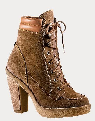 Stoere bruine schoen met hak