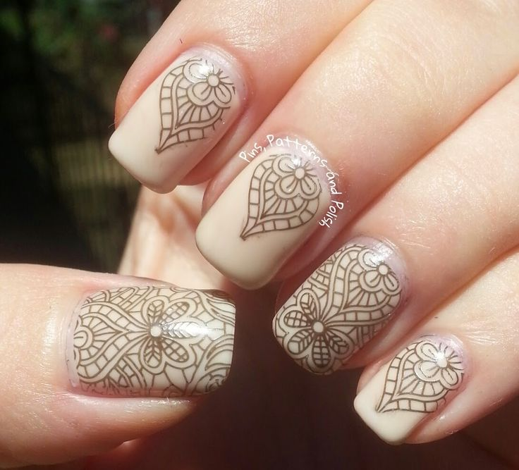 Pins, Patterns and Polish: Emily de Molly Black Lace Stamping Over Neutral Nails
