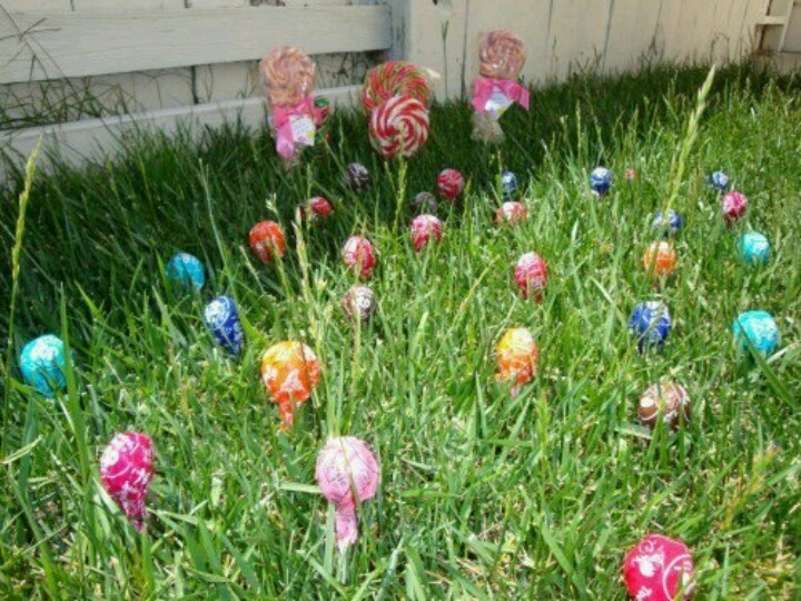 """Easter. """"Plant"""" jelly beans with the kids at night, then at night replace with lolipops"""