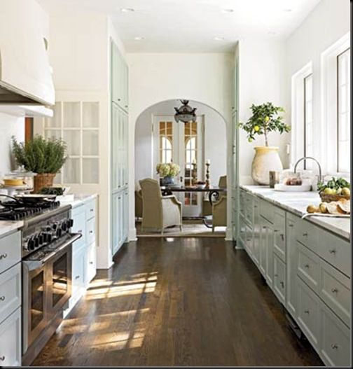 galleyLights, Ideas, Dining Room, Cabinets Colors, Dreams, Dark Wood Floors, House, Galley Kitchens, White Kitchens