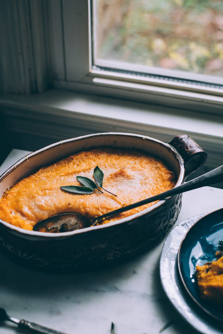 Get the recipe for this 1 Hour Butternut Squash Shepherds Pie made with lentils, mushrooms, carrots and topped with coconut creamed butternut squash.
