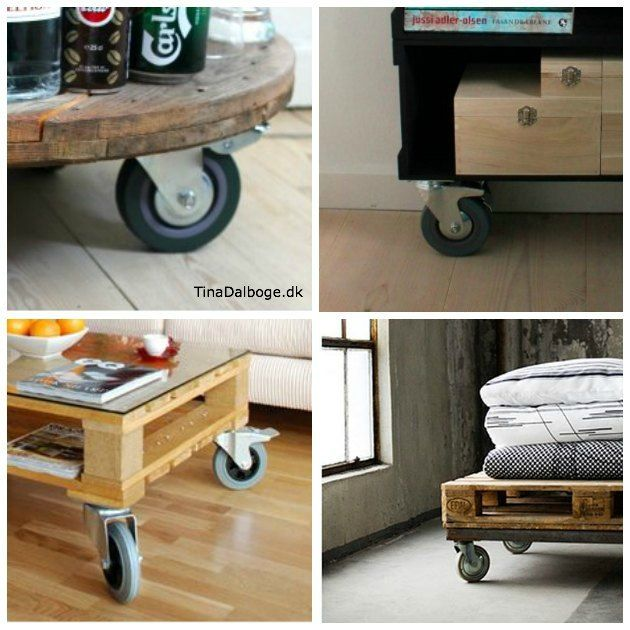 Billige rå møbelhjul til at skrue under pallemøbler - kabeltromler og andre rå møbler - 4 styks til 149,95 i Tina Dalbøges Kreahobshop.dk