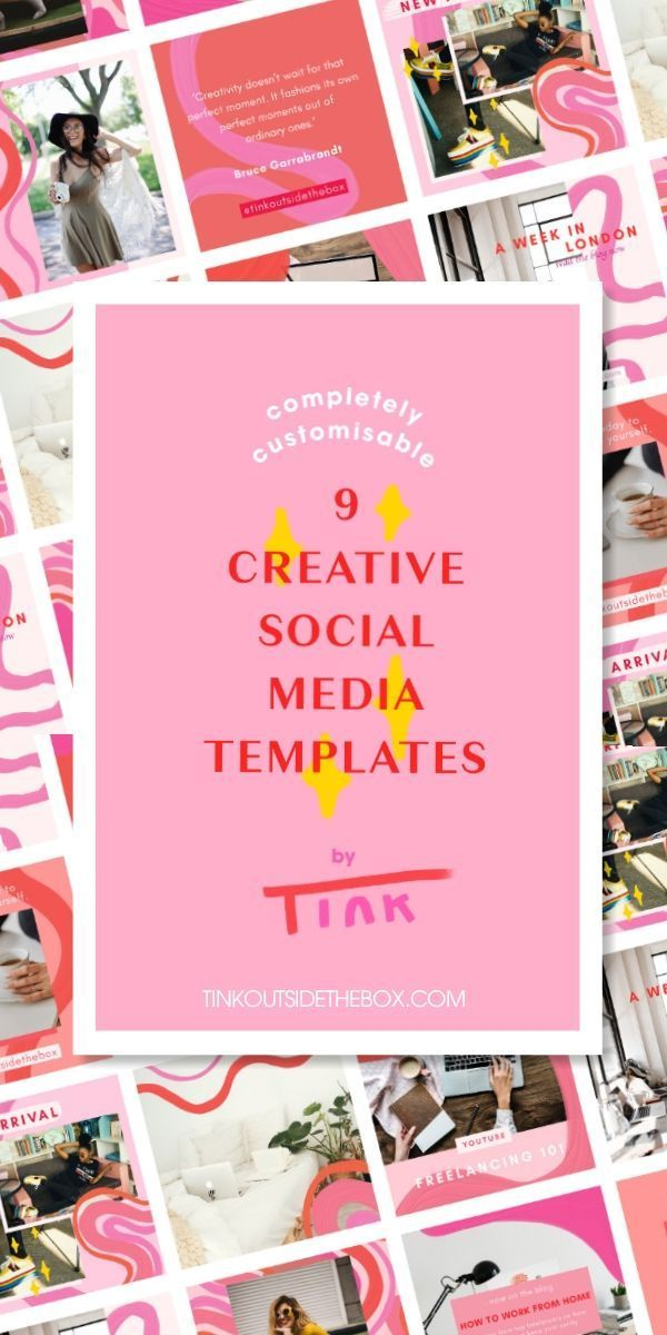 Creative Social Media Post Templates Completely Customisable Template For Instagram Facebook Twitter And Pinterest Hand Drawn Social Media Template Social Media Post Templates