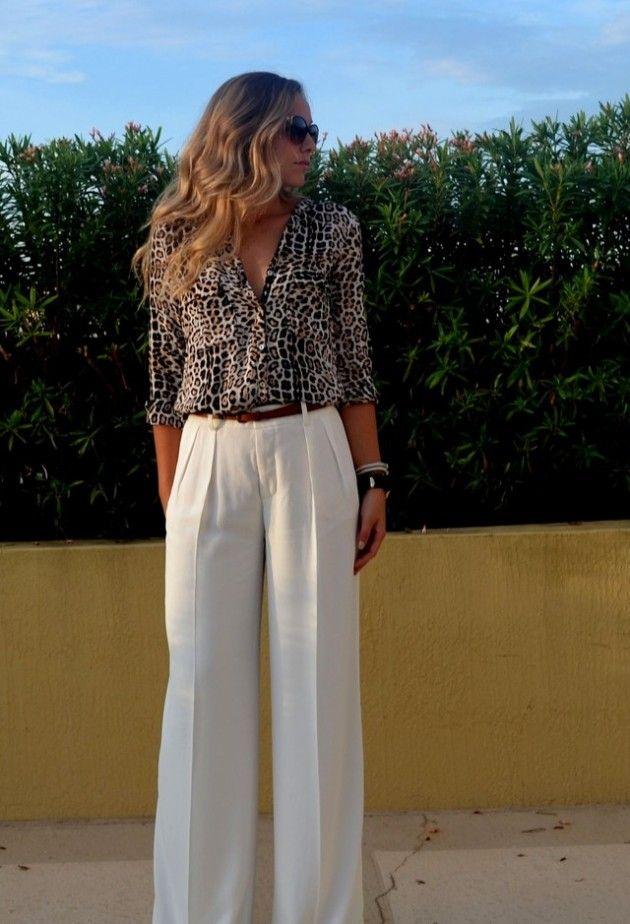 @roressclothes closet ideas #women fashion White Palazzo Pants                                                                                                                                                                                 More