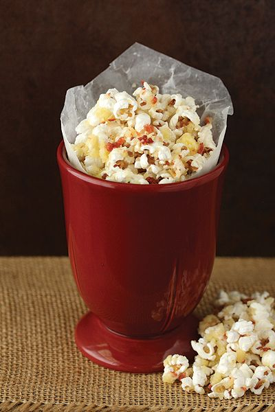 An addicting savory snack of popcorn tossed with Irish cheese and bacon for a very special baby shower.