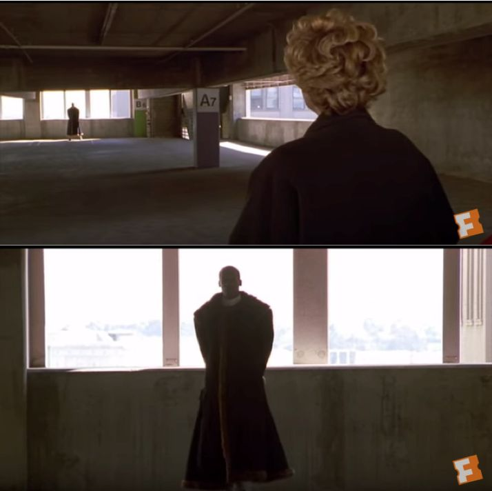 In 1992's 'Candyman', Candyman reveals himself to Helen as she is skeptical about his existence. In the sequence, he slowly approaches her with backlit lighting making him almost shadow-like. The bottom image inspired the chiaroscuro I used for the antagonist in my film, because I wanted the same slow, tension creating reveal for 'The Mask' in my own narrative, and the mystery that the cinematography associated the character with.