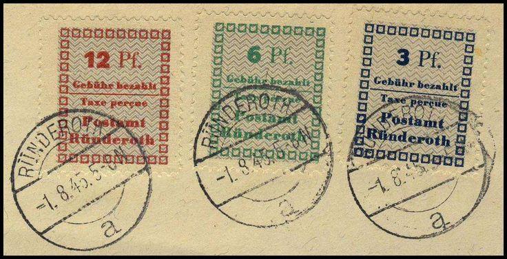 German Local Issue, Ründerroth 1945, nicht amtliche Ausgabe, 3 Pfg. - 12 Pfg., auf Kabinett-Briefstück (Bfst., Mi.-Nr.1-3 A/Mi.EUR 51,--). Price Estimate (8/2016): 15 EUR.