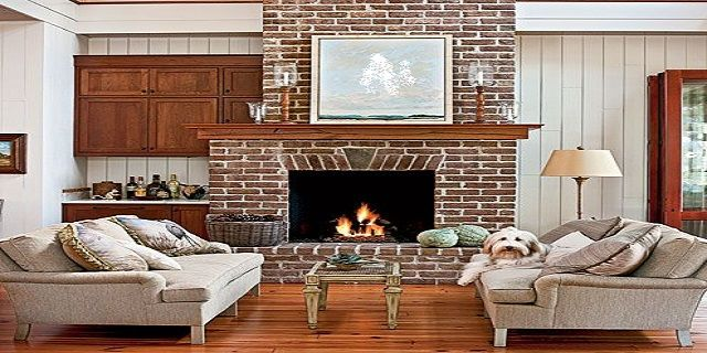 Living room design around brick fireplace