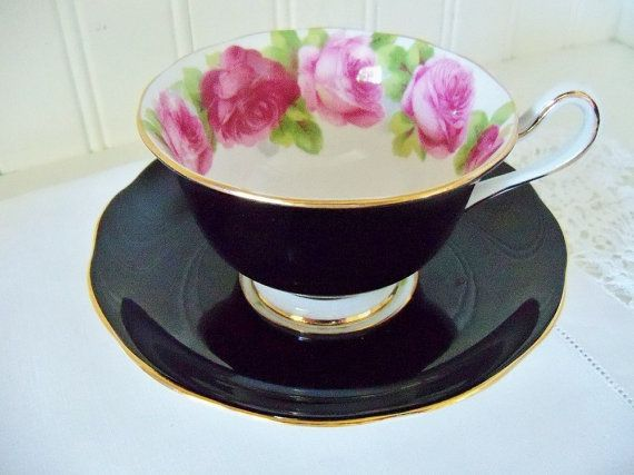 Royal Albert black Old English Roses teacup by YorkshireTeaCupShop