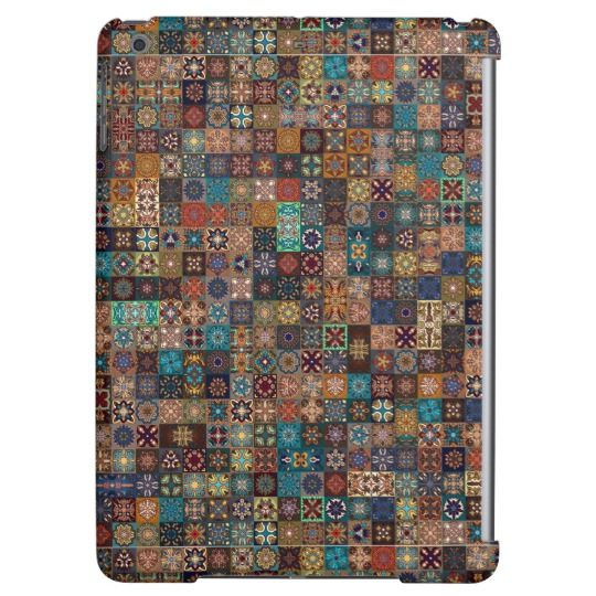 Vintage patchwork with floral mandala elements iPad air cases