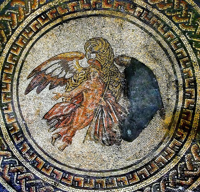 Ganymede & Eagle mosaic at Bignor Roman Villa   This impressive mosaic was the centrepiece of a dining room, or triclinium. It shows the young Trojan prince Ganymede being abducted by the god Zeus (Roman god is Jupiter) to be his cupbearer on Mount Olympus. Zeus has disguised himself as a large eagle.