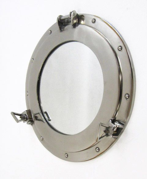 "CaptJimsCargo - Aluminum Chrome Finish 15"" Ship's Cabin Porthole Mirror Round Nautical Decor, (http://www.captjimscargo.com/nautical-home-decor/portholes/aluminum-chrome-finish-15-ships-cabin-porthole-mirror-round-nautical-decor/)"