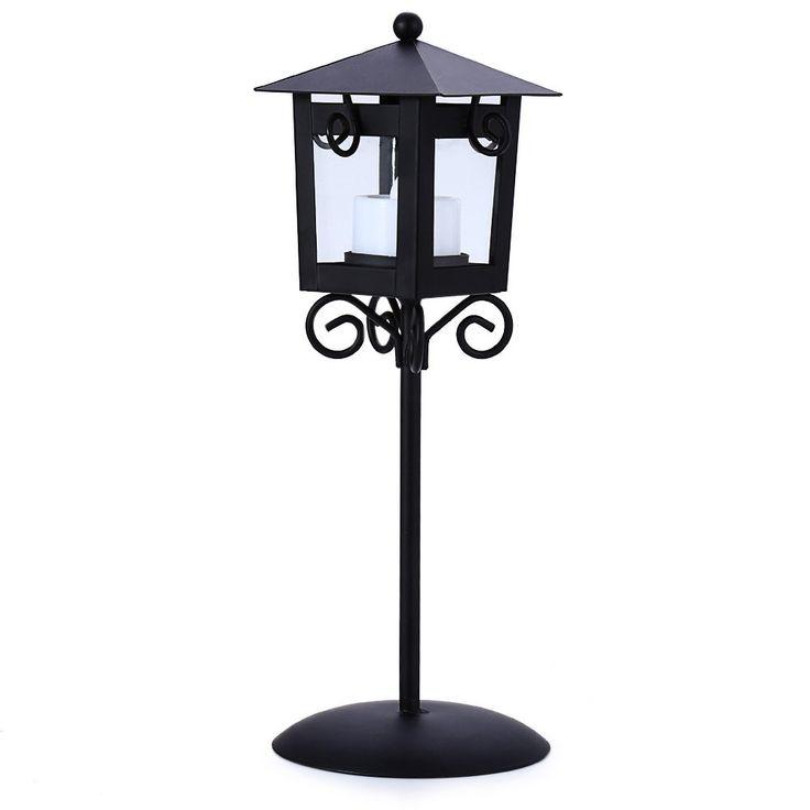 Classical Street Light Style Iron Candle Holder Lantern Candlestick