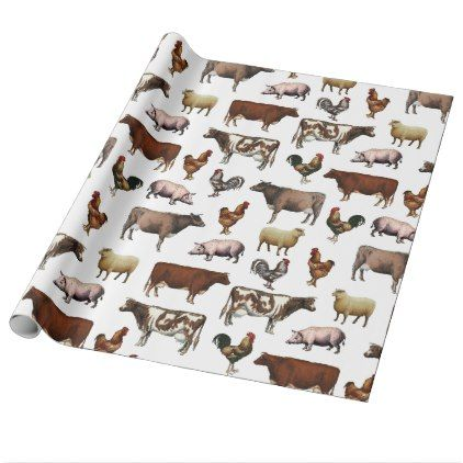 Vintage Farm Animals Wrapping Paper - wrapping paper custom diy cyo personalize unique present gift idea
